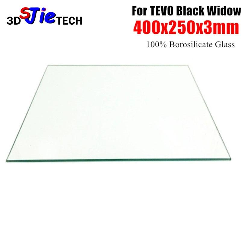 400x250x3 ملليمتر البورسليكات طبق من الزجاج السرير حافة مصقولة ل الارملة السوداء 3D طابعة ساخنة السرير مخصص الزجاج