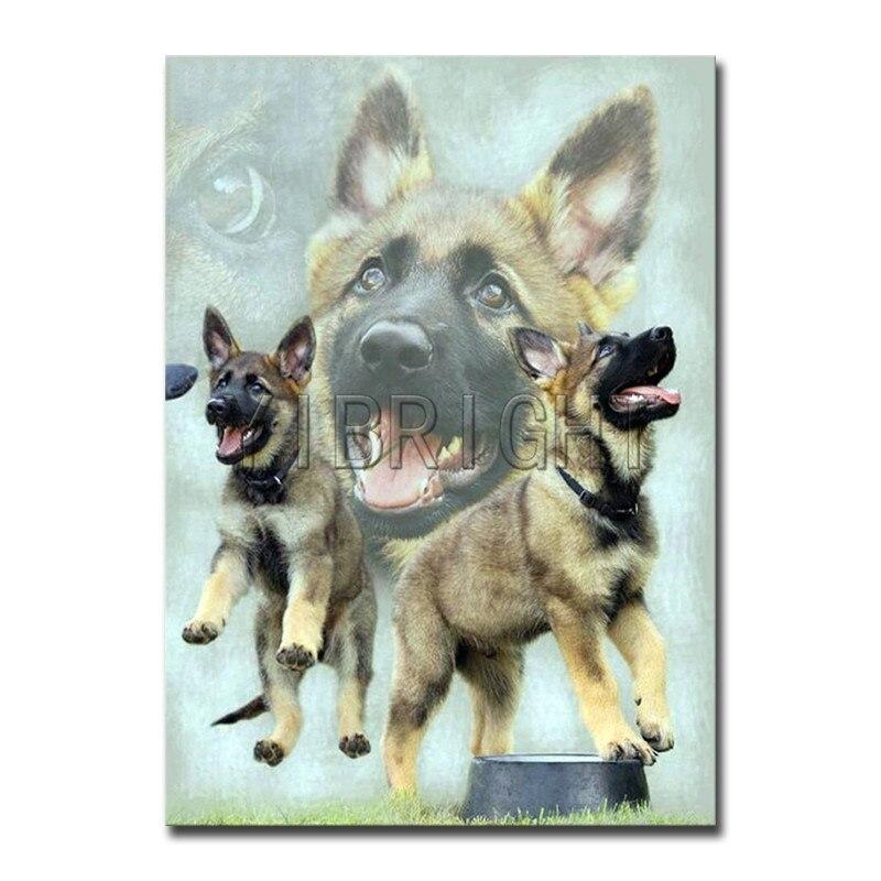 Completo redondo diamante mosaico perro completo cuadrado diamante bordado gundog DIY 3D diamante pintura punto de cruz familia animal