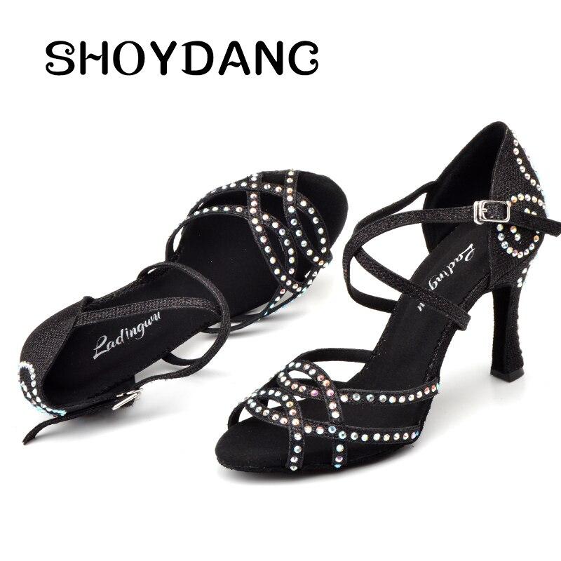 SHOYDANC zapatos de baile con brillantina de diamantes de imitación negro Latino/azul/oro/plata paño Flash Salsa zapatos de baile de mujer zapatos de baile de salón