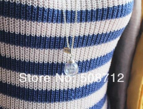 20MM cristal semilla real de diente de león globo con deseo colgante collar, cristal colgante Orbe, soplado a mano, globo de cristal, joyería nupcial