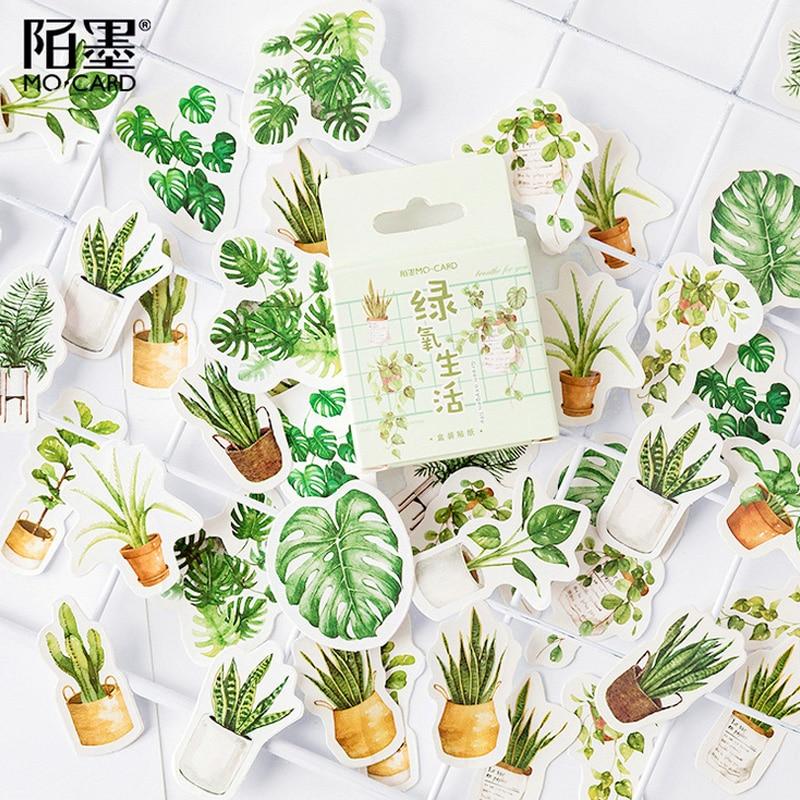 45 unids/lote de pegatinas de papel de plantas en macetas verdes, paquete de pegatinas de decoración de diario DIY, álbum de recortes