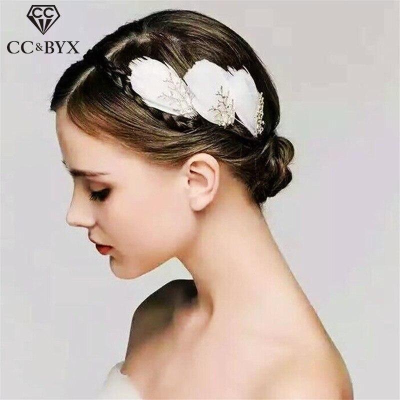 CC & BYX Romantische Feder Haar Kämme für Frauen Haarnadeln Hochzeit Haar Ornamente Bräute Zubehör Haar Clips Sticks 0031