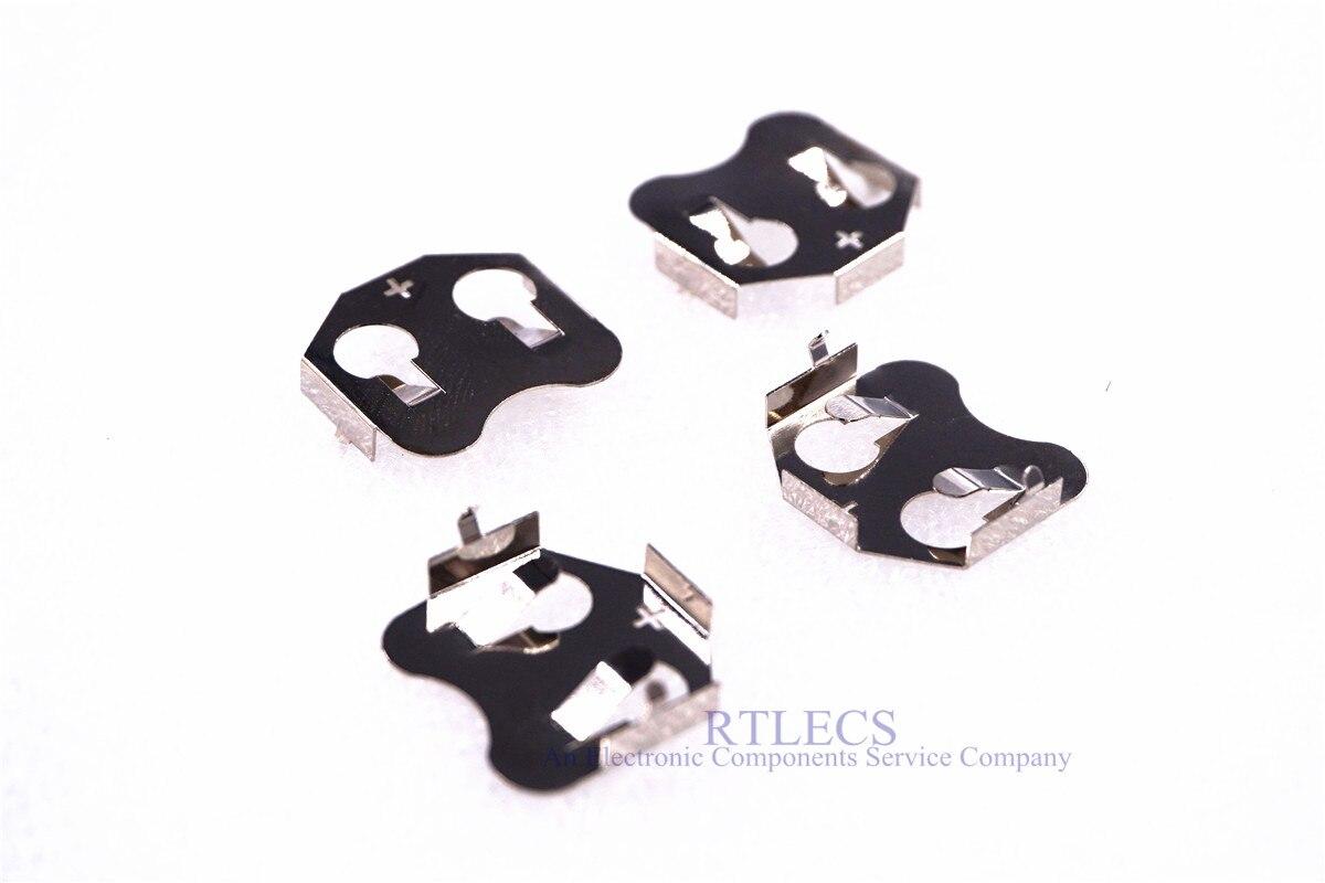 50 Uds CR2032 CR2025 CR2020 soporte de la célula del botón de la batería a través de la caja del agujero conector del zócalo de la batería PCB Placa de níquel de soldadura 3003