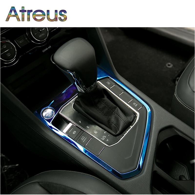Atreus 1 pçs engrenagem do carro shift painel botão guarnição cobre adesivos para vw tiguan 2 mk2 acessórios para volkswagen tiguan 2016 2017 2018