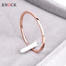 Кольцо из титановой стали Knock (1,2 мм), розовое золото, гипоаллергенное гладкое обручальное кольцо для пары, женские и мужские модные украшения