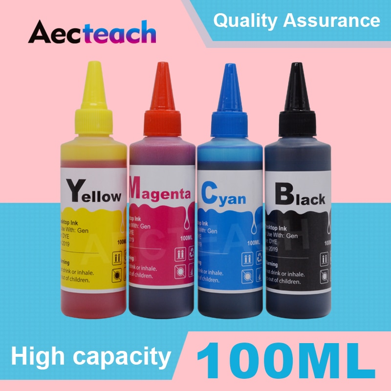 Aecteach Universal 100 ml Kit de Recarga de Tinta Corante Para HP 650 XL Deskjet 1015 1515 2515 2545 2645 3515 3545 4515 4645 Tinta De Impressora