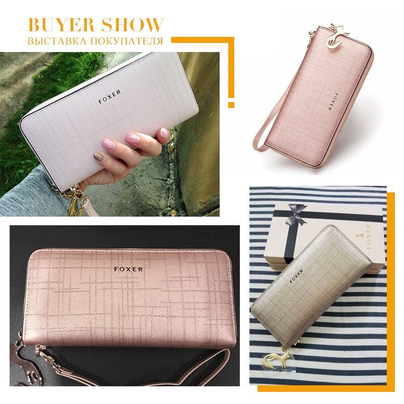 Купить с кэшбэком FOXER Women Leather Wallet Bifold Wallet Clutch Wallet with Wristlet Card Holder Coin Purse Cellphone Bag Female Clutch Bags