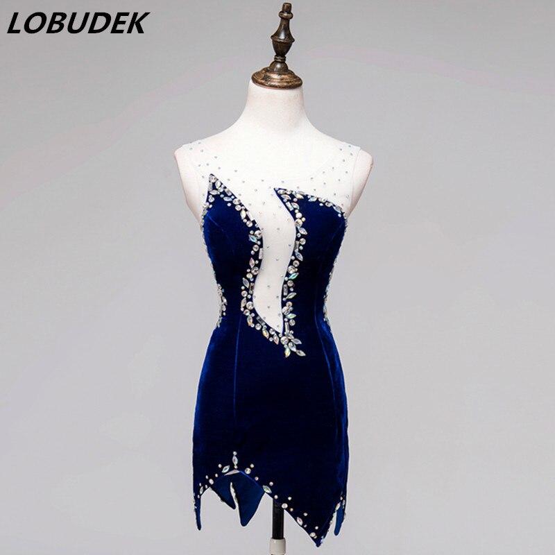 Azul Com Decote Em V de Bling Strass Curto Vestido Mulheres Dança Latina Desgaste Dança Jogo Do Grupo Dançarina Traje Palco Vestido de Desempenho
