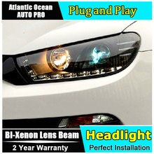 Lampe frontale style de voiture pour VW Scirocco phares Scirocco R phare LED lentille DRL Double faisceau caché KIT xénon bi lentille xénon