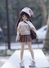 Livraison gratuite 1/4 1/6 bjd poupée vêtements bjd poupée pull + jupe plissée bjd mode poupée robe