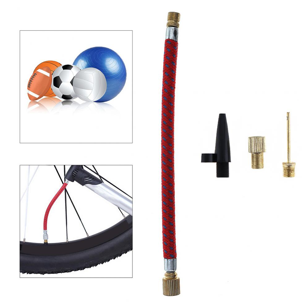 Válvula de boquilla portátil de 4 Uds., manguera de aire, agujas para inflar, bomba, inflador, conector para bola inflable MTB/neumático de bicicleta de carretera