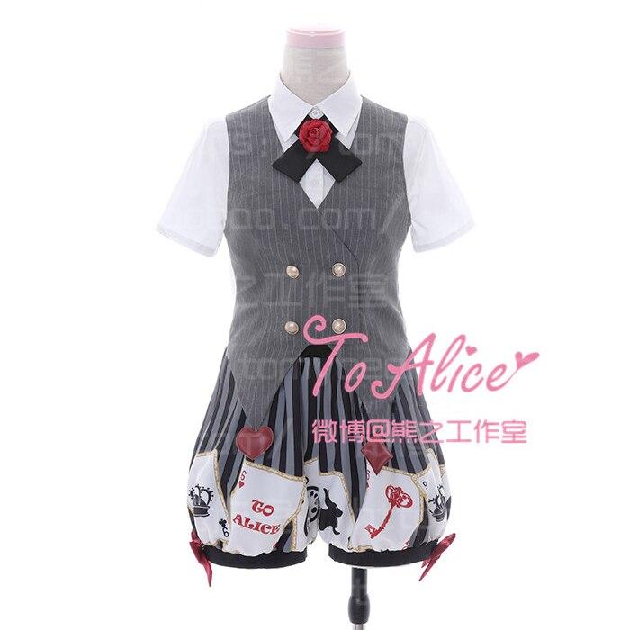 Super mignon obscurité Alice Poker Print 3 pièces ensemble femme manteau gilet gris + Rose cravate manches courtes chemise blanche + Short citrouille