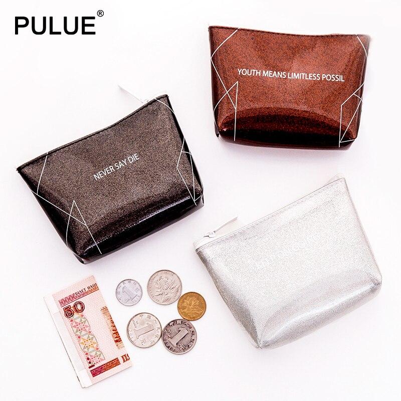 Vogue brilhante prata em pó moeda bolsas feminina pequena carteira saco de dinheiro pvc à prova dwaterproof água bolsa titular do cartão chave bolsa do parafuso prisioneiro brincos sacos