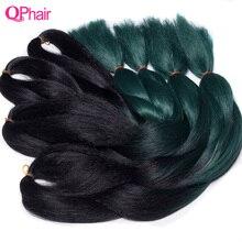 Mèches synthétiques Jumbo vertes-QP hair   Extensions de tresses en fiber de haute intensité vertes noires et vertes au Crochet 10