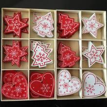 Ornement darbre de noël blanc rouge 10 pièces/ensemble   Pendentifs suspendus en bois, cloche de neige ange Elk étoile, décorations de noël pour maison