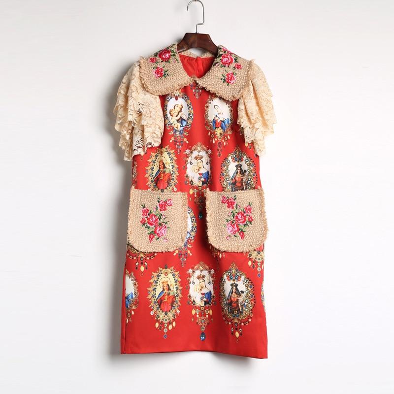 Vestido recto de diseño de pasarela de alta calidad 2017 con bolsillos y mangas de encaje con estampado Floral de personajes