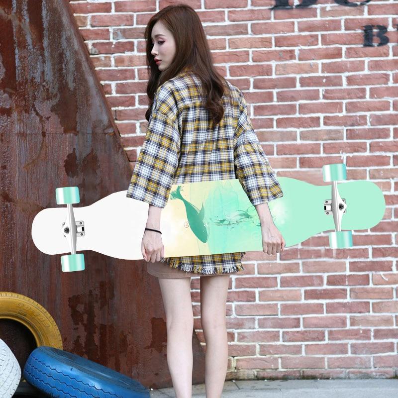 118cm Long board skateboard girls professional brush street road four-wheel skateboard dance board scooter