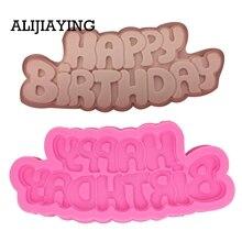 Moule en Silicone M1333 pour joyeux anniversaire   Moule avec lettre forme de chocolat et Fondant, outils de décoration pour gâteaux décoratifs de desserts
