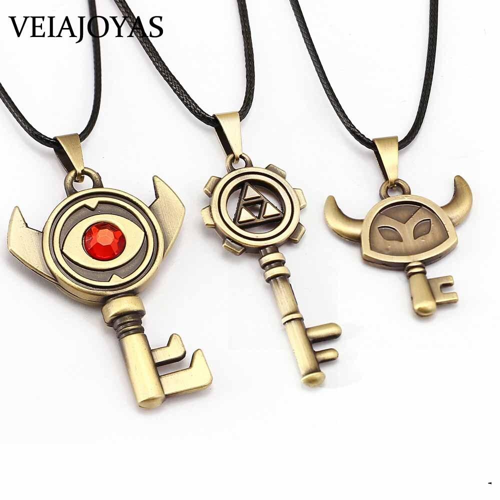 Collar gargantilla Legend of Zelda, 3 estilos, llaves de ojo malvado, colgantes de bronce, regalo de amistad, dijes de videojuegos, llaveros, accesorios de joyería