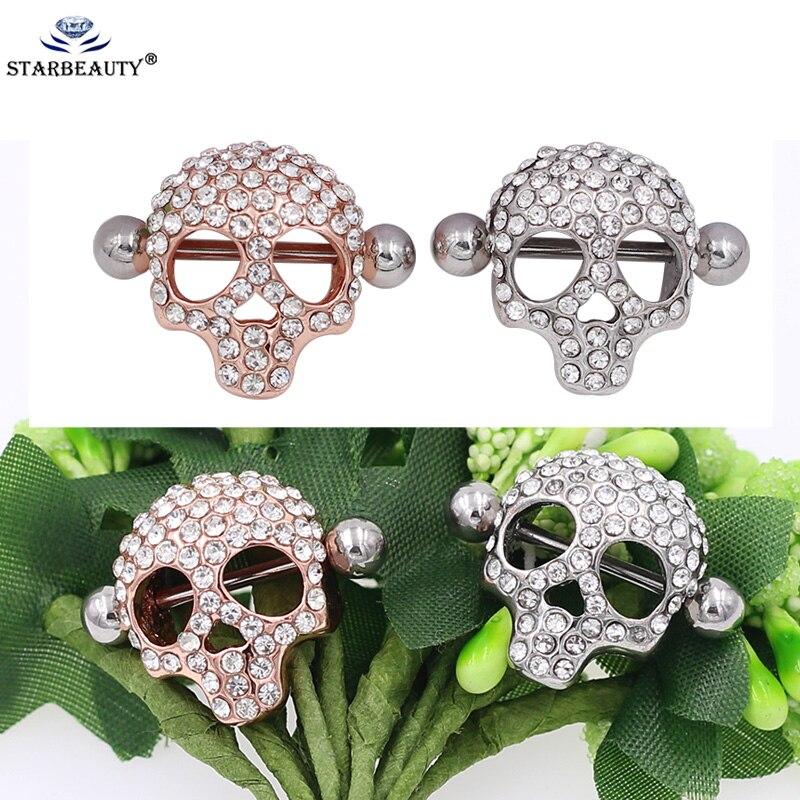 2Pcs/Lot Cool Skull Nipples Ring Rose Gold Punk Nipple Piercing Shield Nipple Ring Body Nipple Piercing Jewelry Pezoneras