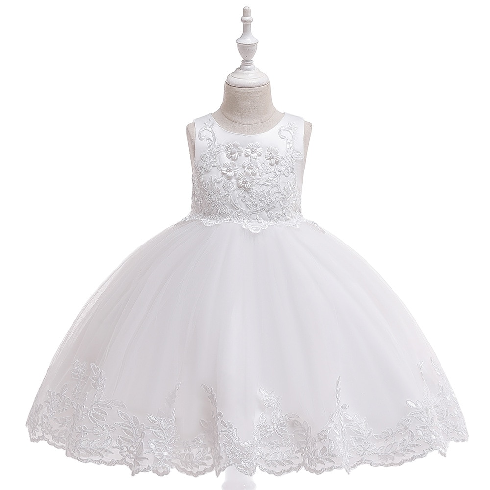 elegant flower girl dress for wedding kids sleeveless lace tulle pageant ball gowns long princess dresses girls party dresses Princess Flower Girl Dresses 2021For Wedding  Lace Tulle Tutu Kids Girls Pageant Dresses Birthday Party Dresses