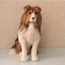 Dorimytrader 살아있는 동물 늑대 개 봉제 장난감 시뮬레이션 동물 sheepdog 골든 리트리버 강아지 홈 장식 소품