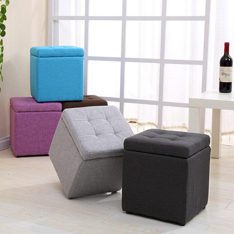 متعددة الوظائف النسيج تخزين البراز الحد الأدنى الحديثة بو صغيرة أريكة الفني نمط طفل كرسي القدم البراز Taburete مقعد مربع
