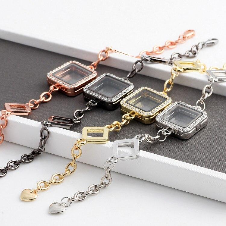 10 unids/lote mezcla de colores medallón colgante pulsera y brazaletes Rhinestone magnético medallón de memoria viva pulseras