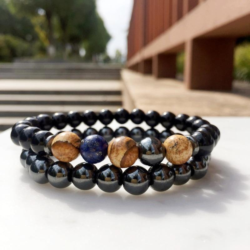 Pulseira de pedra natural dos homens conjunto 8mm grânulo pedra frisado pulseiras para homens moda masculina buda yoga pulseiras jóias homme