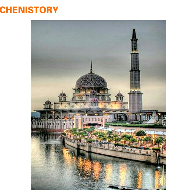 CHENISTORY Europe City Night Landscape DIY Painting By Numbers Handpainted Oil Painting On Canvas Kits Living Room Wall Artwork