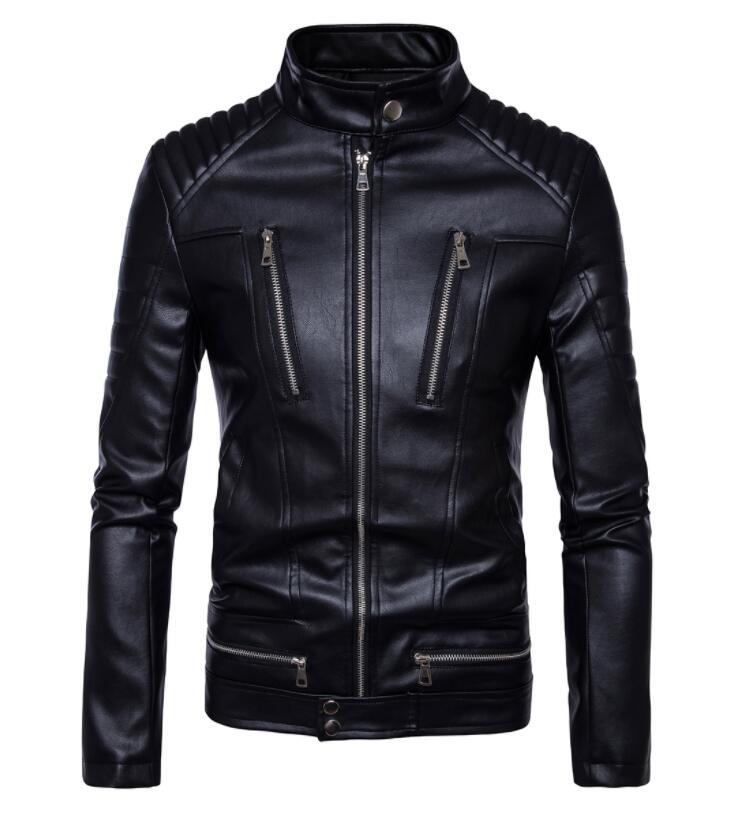 الأعمال دراجة نارية سترة جلدية الرجال الوقوف طوق ملابس رجالي سترات من الجلد عادية متعددة سستة معاطف السائق الأسود
