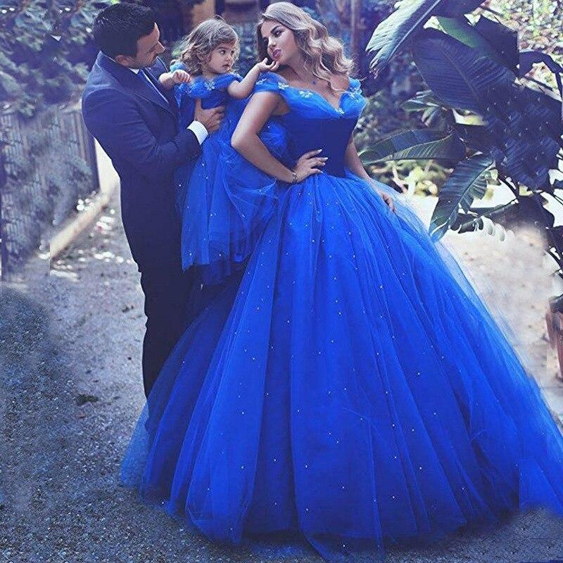 Camina a tu lado, vestidos de flores azules reales para niñas, vestido para baile estilo Cenicienta para niños, hombros descubiertos, desfile de cristal, fiesta, comunión Santa