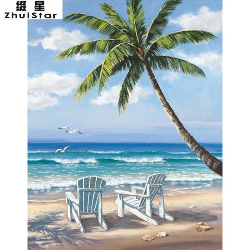 New 5D DIY Diamond Painting Beach & coconut trees Scenic Embroidery Full Square Diamond Cross Stitch Rhinestone Mosaic Paintingx