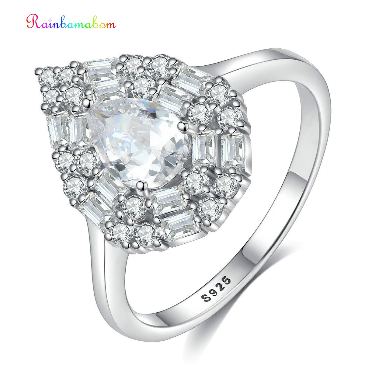 Anillo de compromiso de boda con piedras preciosas de zafiro moissanita, joyería fina, al por mayor, Rainbamabom, sólida plata esterlina 925, pera, creado