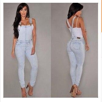 Moda mujer Denim Jumpsuit señoras primavera moda suelta Jeans mamelucos mujer Casual de talla grande mono con bolsillo 9591