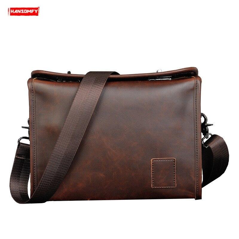 Men Shoulder Bag Casual Retro Messenger Bag Male Handbag Double Twist Lock Design Crossbody Bag Original Crazy Horse Leather