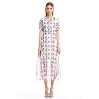 2019 new designer high quality womens fashion dress flower amazing runway elegant casual white ladies summer beach midi dresse