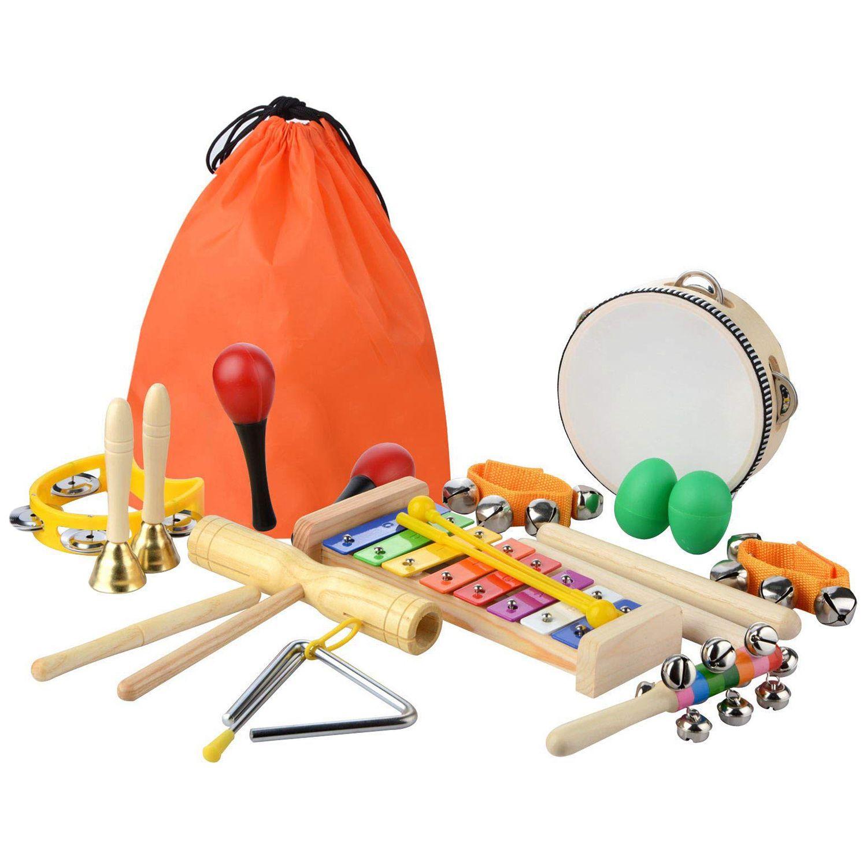 Набор музыкальных инструментов для детей ясельного и раннего возраста, 20 шт., перкуссионная игрушка, забавные игрушки для детей ясельного в...
