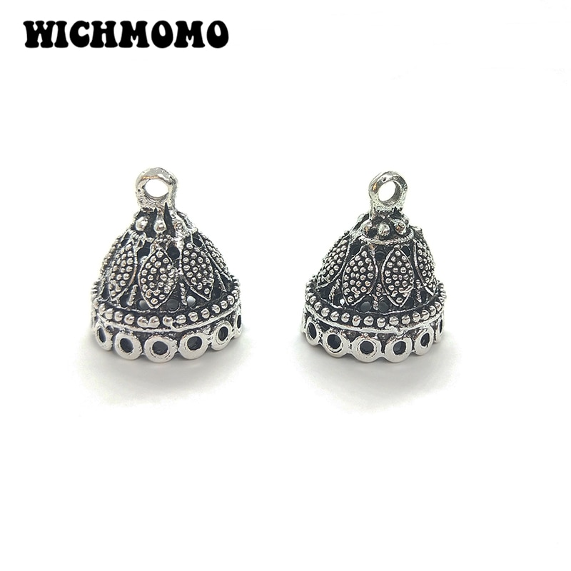 Nuevo 5 unids/bolsa 20*17mm Retro aleación de Zinc forma de campana cuentas con borlas tapa final encantos colgantes para DIY accesorios de joyería
