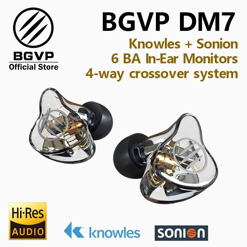 BGVP DM7 6 Banalced armadura 6BA en la oreja música de alta fidelidad y monitores de estudio deportes auriculares personalizar IEM Knowles Sonion los conductores auriculares