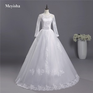 ZJ3004 Corset Long Sleeve A line Tulle Lade edge Bottom Wedding Dress Beading Lace Appliques White Custom Made Bridal Gown