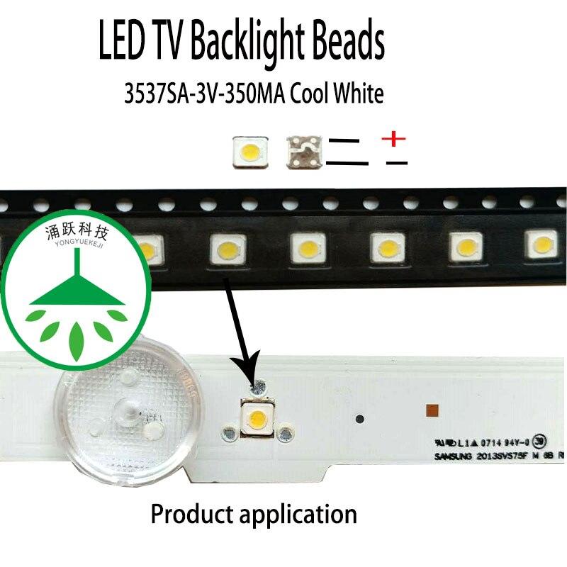 200 шт./лот, новинка, высокая мощность, led 3537, 3 в, 350мА, 1 Вт, лампа, бусины, холодный белый цвет, для ремонта, samsung, телевизор, светодиодная подсветк...