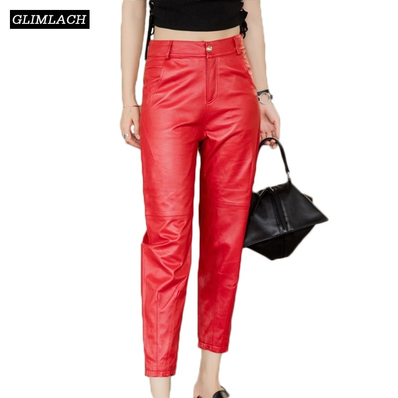 New Large Size Natural Sheepskin Real Leather Pants Women Genuine Leather Trousers Lady Black Red Gray Fashion Slim Pencil Pants