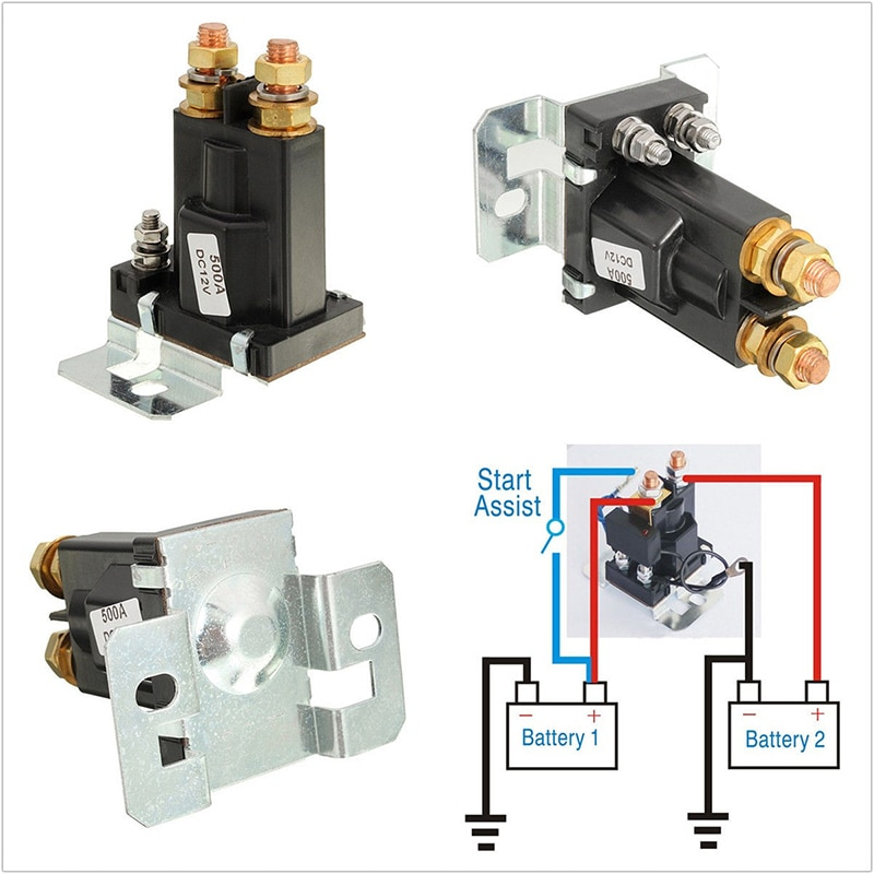 Black 4-Pin DC 12V/24V 500A Car Dual Battery Isolator Starter Relay Switch