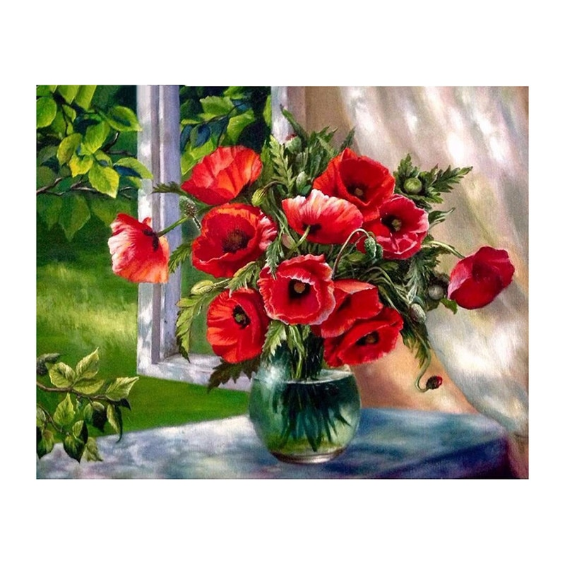 Bordado de diamantes 5D DIY pintura de rosa roja florero Windowsill pintura de diamantes de punto de cruz mosaico de diamantes de imitación WZ