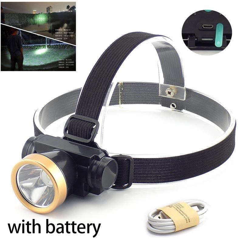 Linterna frontal recargable por USB, linterna frontal, linterna para pesca, Camping, caza y ciclismo