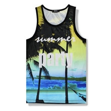 Hawaii Floarl Tank Top 3D Printed Summer Sleeveless Mens Shirt Beach Vest Mesh Breathable Mens Bodybuilding Tank Tops Fitness