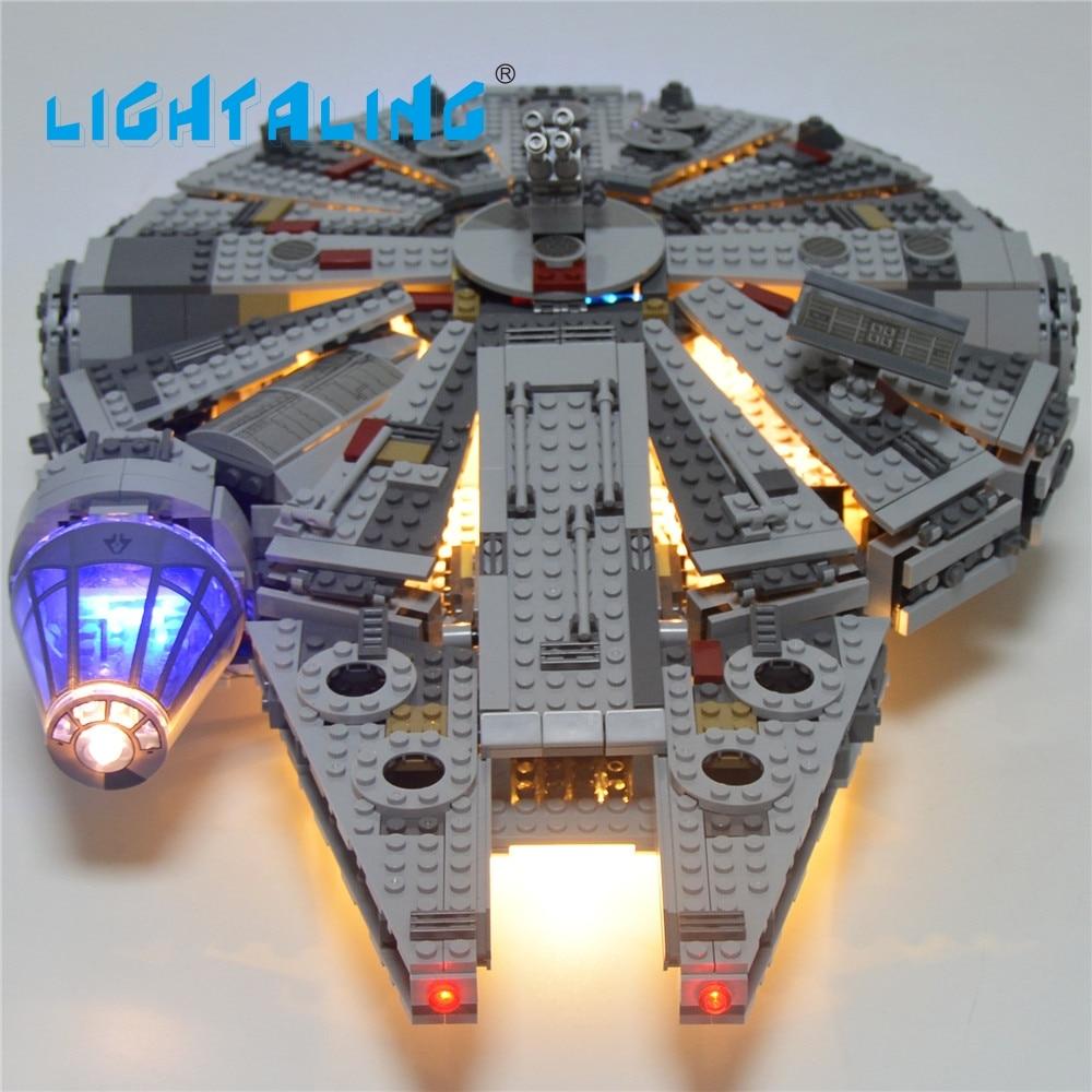 Iluminação led blocos de luz, conjunto de brinquedos para star war, falcon, figura, blocos de construção, modelo milênio compatível com 75105 05007
