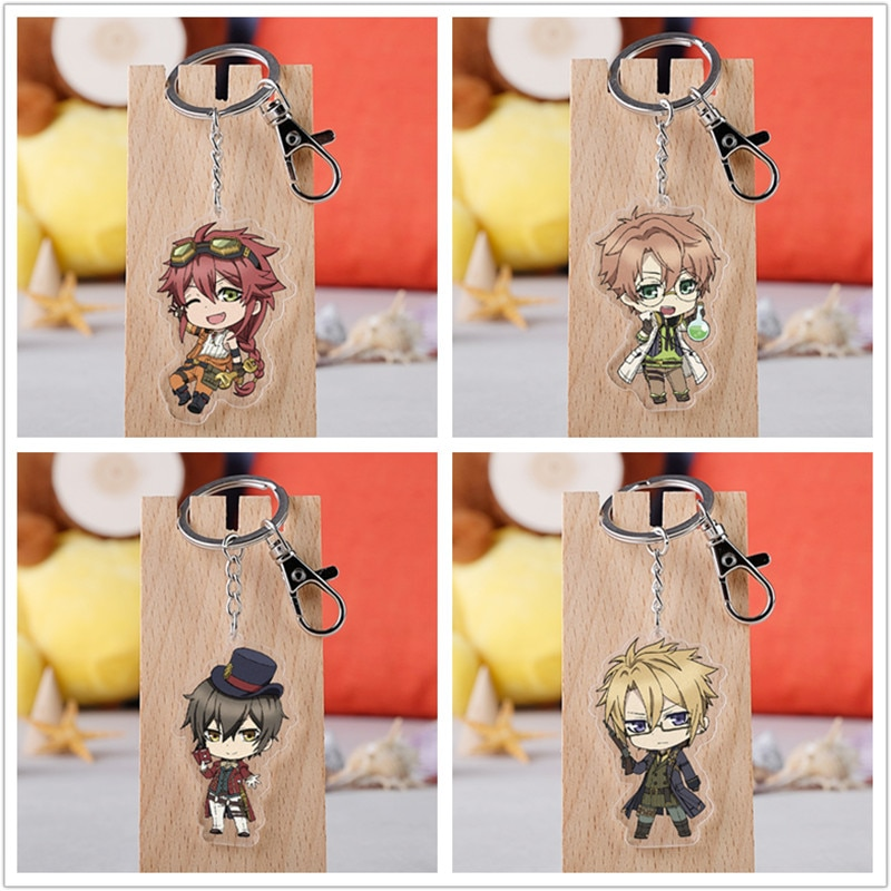 10 uds/lote Anime Code Realize llavero acrílico figura de juguete Cardia Beckford bolso colgante doble cara llavero regalos del anillo