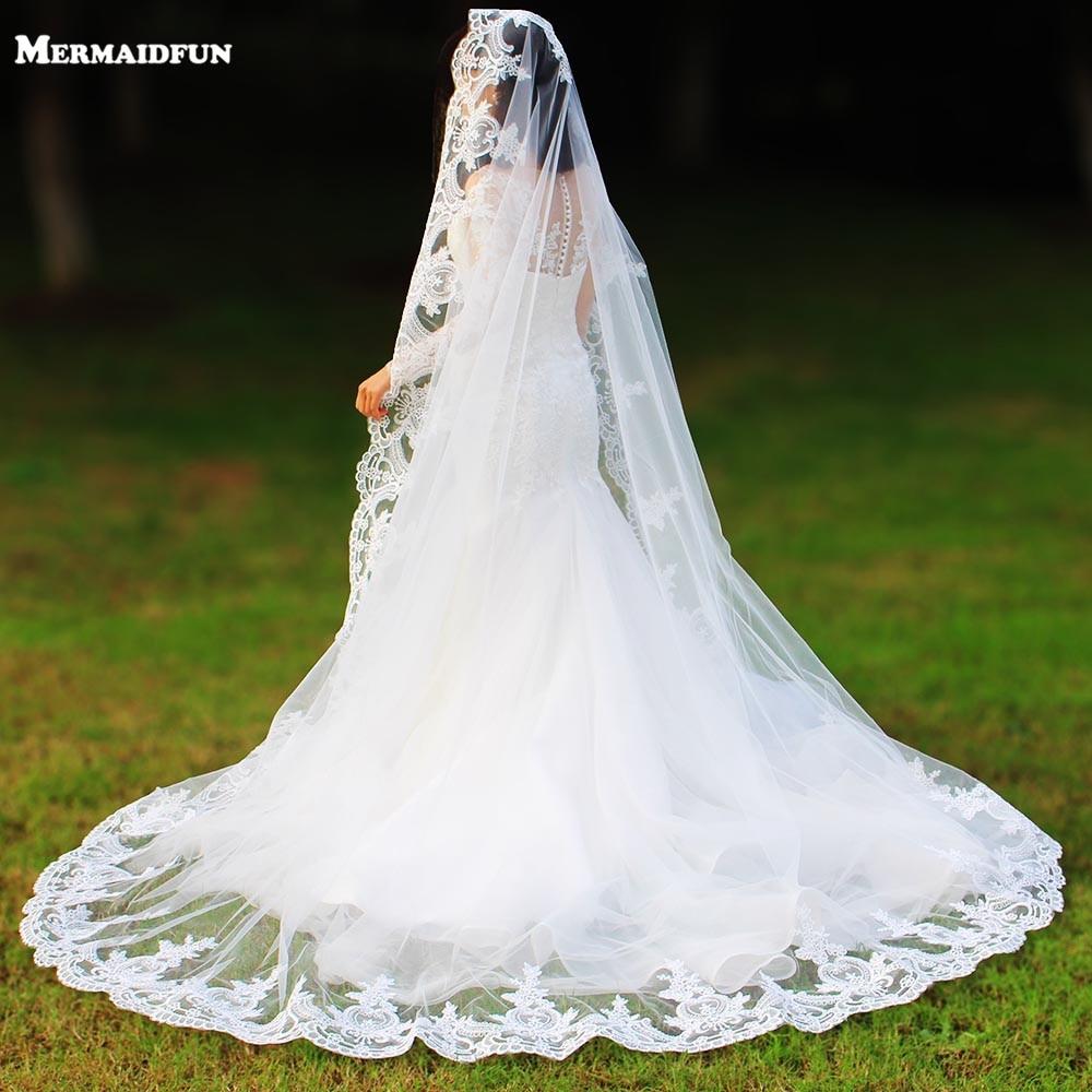 Реальные фотографии, один слой, кружевная кромка, свадебная фата с гребнем, длинная белая цвета слоновой кости, тюль, Фата для невесты
